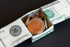 De dollar van de V.S. en muntstukken royalty-vrije stock fotografie