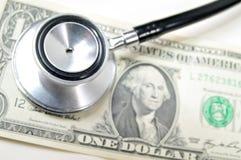 De dollar van de V.S. en stethoscoop Royalty-vrije Stock Fotografie