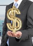 De dollar van de zakenmanholding Stock Foto