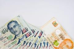De Dollar van Singapore, Bankbiljet Singapore op Witte achtergrond isoleert Royalty-vrije Stock Afbeelding