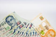 De Dollar van Singapore, Bankbiljet Singapore op Witte achtergrond isoleert Royalty-vrije Stock Foto