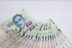 De Dollar van Singapore, Bankbiljet Singapore op Witte achtergrond isoleert Royalty-vrije Stock Foto's