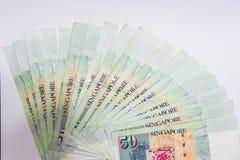 De Dollar van Singapore, Bankbiljet Singapore op Witte achtergrond isoleert Royalty-vrije Stock Fotografie