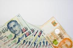 De Dollar van Singapore, Bankbiljet Singapore op Witte achtergrond isoleert Royalty-vrije Stock Afbeeldingen