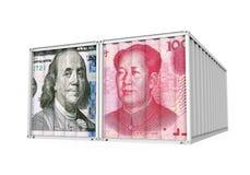 De Dollar van Verenigde Staten en Chinees Yuan Cargo Container Isolated Het Concept van de handelsoorlog Royalty-vrije Stock Afbeeldingen
