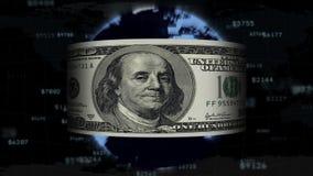 De dollar vliegt rond de loopable planeet, vector illustratie