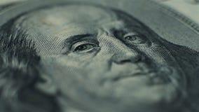 De dollarbankbiljet van de honderd V.S. stock footage