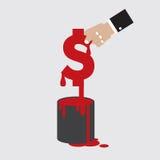 De dollarmunt met Geschilderde Kleur kan Royalty-vrije Stock Afbeeldingen