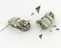De dollarorigami van het autoongeval het 3D teruggeven Stock Afbeeldingen