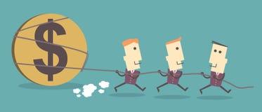 De dollarpictogram drie van de Bedrijfsmensentrekkracht vectordossierillustratie eps stock illustratie