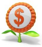 De dollarpictogram van de bloem Stock Afbeelding