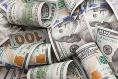 De dollars liggen chaotically - Beeld stock afbeelding