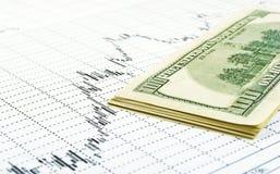 De dollars op grafiek. royalty-vrije stock fotografie