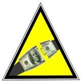 De dollars van de V.S. als Veiligheidsgordelwaarschuwing. Bedrijfs veiligheid Stock Afbeelding