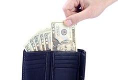 De Dollars van de V.S. in een Zwarte Portefeuille Stock Afbeelding