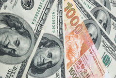 De dollars van de V.S. versus de dollar van HK Royalty-vrije Stock Foto's