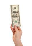 De dollars van het de holdingsgeld van de hand, de dollar van de 100 V.S. Stock Afbeeldingen