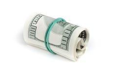 De dollars van Verenigde Staten Broodje van honderd USD-bankbiljetten Royalty-vrije Stock Foto's