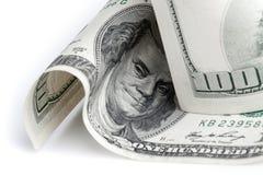 De dollars van Verenigde Staten Fragment van honderd USD-bankbiljet Stock Foto