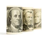 De dollars van Verenigde Staten op wit worden geïsoleerd dat Stock Afbeeldingen