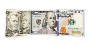De dollars van Verenigde Staten op wit worden geïsoleerd dat Stock Foto's