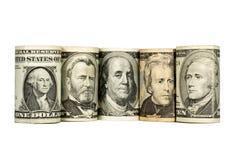 De dollars van Verenigde Staten op wit worden geïsoleerd dat Stock Foto