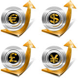 De dollars verpletteren Euro Yen Growth - Positieve Pijl Royalty-vrije Stock Foto's
