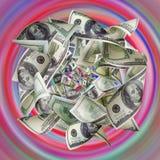 De dollars worden aangehaald om trechter te kleuren Royalty-vrije Stock Fotografie