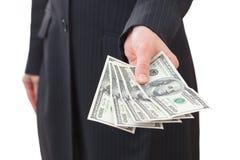 De dollarsclose-up van de onderneemsterholding Royalty-vrije Stock Foto's