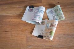 De dollarsgeld van Singapore op de lijst Royalty-vrije Stock Afbeeldingen