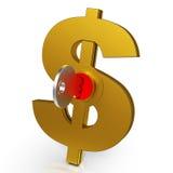 De dollarsleutel toont Besparingen en Financiën Stock Afbeelding