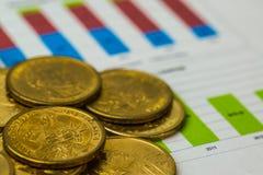 De dollarsmuntstukken op financieel millimeterpapier Stock Afbeeldingen