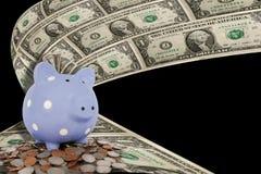 De Dollarsmuntstukken van het spaarvarken Royalty-vrije Stock Afbeeldingen