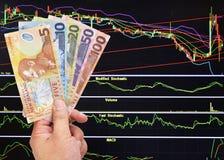 De dollarsrekening van Nieuw Zeeland op effectenbeursachtergrond Stock Fotografie