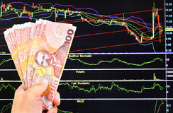 De dollarsrekening van Nieuw Zeeland op effectenbeursachtergrond Royalty-vrije Stock Fotografie