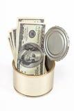 De dollarsrekeningen van de V.S. in tinblik Stock Afbeeldingen