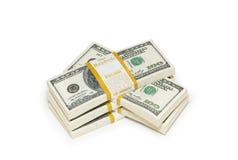 De dollarstapels van het tienduizend op het wit Stock Fotografie