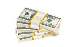 De dollarstapels van het tienduizend op het wit Royalty-vrije Stock Fotografie