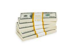 De dollarstapels van het tienduizend op het wit Stock Foto