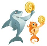 De dollarsymbool van de haaiholding en het symbool van de goudvisholding bitcoin Royalty-vrije Stock Foto