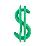 De dollarteken van de plasticine Stock Afbeelding