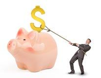 De dollarteken van de zakenmanholding met kabel Royalty-vrije Stock Afbeeldingen