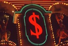 De dollarteken van het neon, Las Vegas, NV Royalty-vrije Stock Fotografie