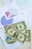 De dollartekens van het close-upcontante geld met de bedrijfsgroei Stock Foto's