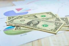 De dollartekens van het close-upcontante geld met de bedrijfsgroei Stock Afbeelding