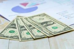 De dollartekens van het close-upcontante geld met de bedrijfsgroei op witte houten Stock Foto