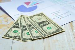 De dollartekens van het close-upcontante geld met de bedrijfsgroei op witte houten Royalty-vrije Stock Afbeeldingen