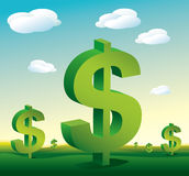 De dollartekens van het landschap Stock Afbeelding
