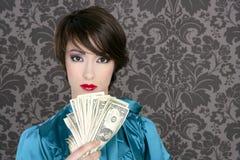 De dollarvrouw van de manier met vele in hand nota's Stock Foto's