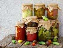De domeinen van de assortimentsherfst Kruiken groenten in het zuur en jam Stock Afbeeldingen
